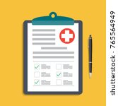 clipboard with medical cross... | Shutterstock .eps vector #765564949