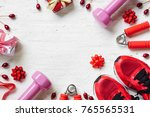 flat lay of merry christmas and ... | Shutterstock . vector #765565531
