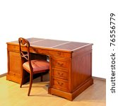 Very Old Wooden Work Desk With...
