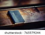 Book Holy Bible On Old Wooden...