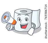 with megaphone tissue character ... | Shutterstock .eps vector #765586714