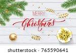 merry christmas golden... | Shutterstock .eps vector #765590641