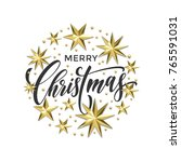 merry christmas golden... | Shutterstock .eps vector #765591031