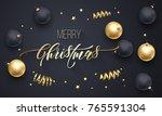 merry christmas holiday golden... | Shutterstock .eps vector #765591304