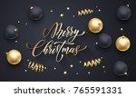 merry christmas holiday golden... | Shutterstock .eps vector #765591331