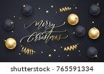 merry christmas golden... | Shutterstock .eps vector #765591334