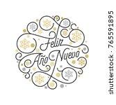 feliz ano nuevo spanish happy... | Shutterstock .eps vector #765591895