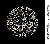 frohe weihnachten german merry... | Shutterstock .eps vector #765591949