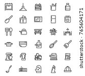 kitchen icon set vector outline