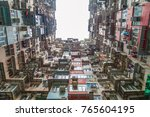 old tall and dense residential... | Shutterstock . vector #765604195