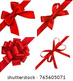 set of decorative red bows with ... | Shutterstock .eps vector #765605071