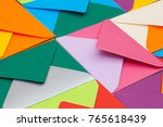 different colored envelopes on... | Shutterstock . vector #765618439