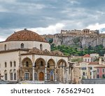 clouds over athens greece ...   Shutterstock . vector #765629401