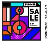 summer sale memphis style web... | Shutterstock .eps vector #765638575