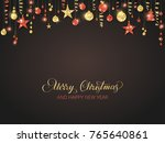 red and gold glitter ornaments... | Shutterstock .eps vector #765640861