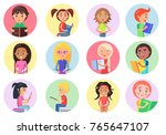 color icons with reading boys... | Shutterstock .eps vector #765647107