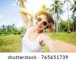 young beautiful hipster woman... | Shutterstock . vector #765651739