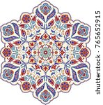 floral  hand drawn mandala.... | Shutterstock .eps vector #765652915