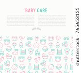 baby care concept with thin... | Shutterstock .eps vector #765653125