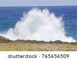 wide white foam of waves splash ...   Shutterstock . vector #765656509