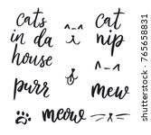 Set Of Cats Quotes And Vector...