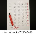 test task form with excellent... | Shutterstock . vector #765660661