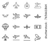 thin line icon set   rocket ... | Shutterstock .eps vector #765661864