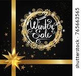 winter sale poster in... | Shutterstock .eps vector #765663565