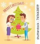 merry christmas poster husband... | Shutterstock .eps vector #765663859