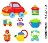 big red car  toy house  car... | Shutterstock .eps vector #765664315