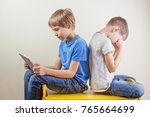 compuer addiction. one boy...   Shutterstock . vector #765664699