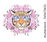 vector tiger wearing glasses  | Shutterstock .eps vector #765673621