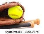 Closeup Of A Softball Glove...