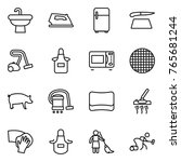 thin line icon set   sink  iron ... | Shutterstock .eps vector #765681244