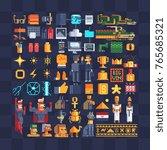 pixel art icons big set.... | Shutterstock .eps vector #765685321