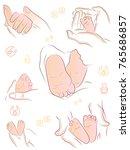 baby legs  mom holds baby legs. ... | Shutterstock .eps vector #765686857