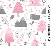 winter scandinavian seamless... | Shutterstock .eps vector #765689707