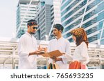 group of young asian muslim man ... | Shutterstock . vector #765693235
