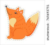 cute funny red  bushy tailed... | Shutterstock .eps vector #765693751