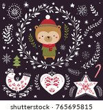 christmas vector collection... | Shutterstock .eps vector #765695815