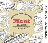 vector background with meat... | Shutterstock .eps vector #765708751