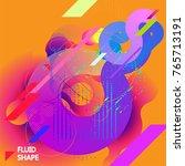fluid color background. liquid... | Shutterstock .eps vector #765713191