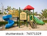 playground and nice blue sky - stock photo