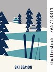 a vintage winter poster  a... | Shutterstock .eps vector #765713311