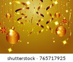 christmas gold background with... | Shutterstock . vector #765717925