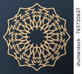laser cutting mandala. golden... | Shutterstock .eps vector #765720637
