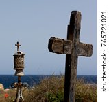 old crosses near the sea in old ... | Shutterstock . vector #765721021
