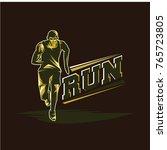 running and marathon logo vector   Shutterstock .eps vector #765723805