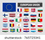 flags of european union and... | Shutterstock .eps vector #765725341