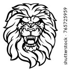 a mean looking lion face... | Shutterstock . vector #765725959